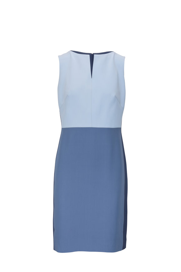 Donald Deal Blue Tri Color Sleeveless Cocktail Dress