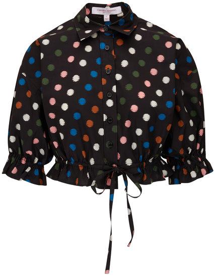 Carolina Herrera Black Multi Drawstring Crop Top