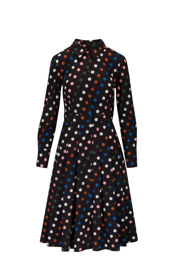 Carolina Herrera Black Multi Long Sleeve Shirt Dress
