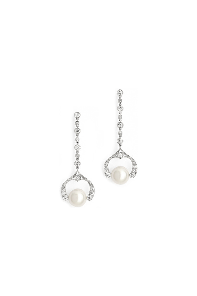 White Gold Pearl And Diamond Drop Earrings