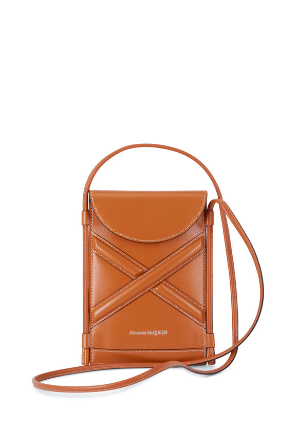 Alexander McQueen The Curve Tan Leather Micro Pouch