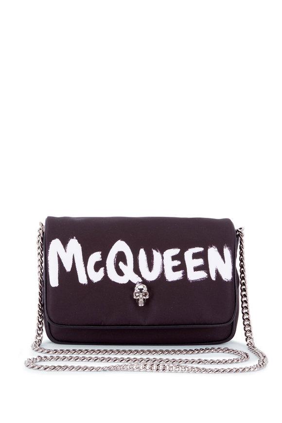 Alexander McQueen Skull Black Graffiti Logo Nylon Shoulder Bag