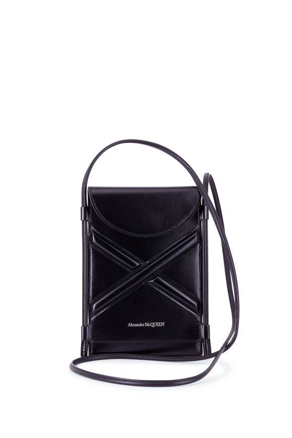 Alexander McQueen The Curve Black Leather Micro Pouch