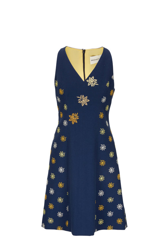 Donald Deal Navy Cotton Embroidered Sleeveless Dress