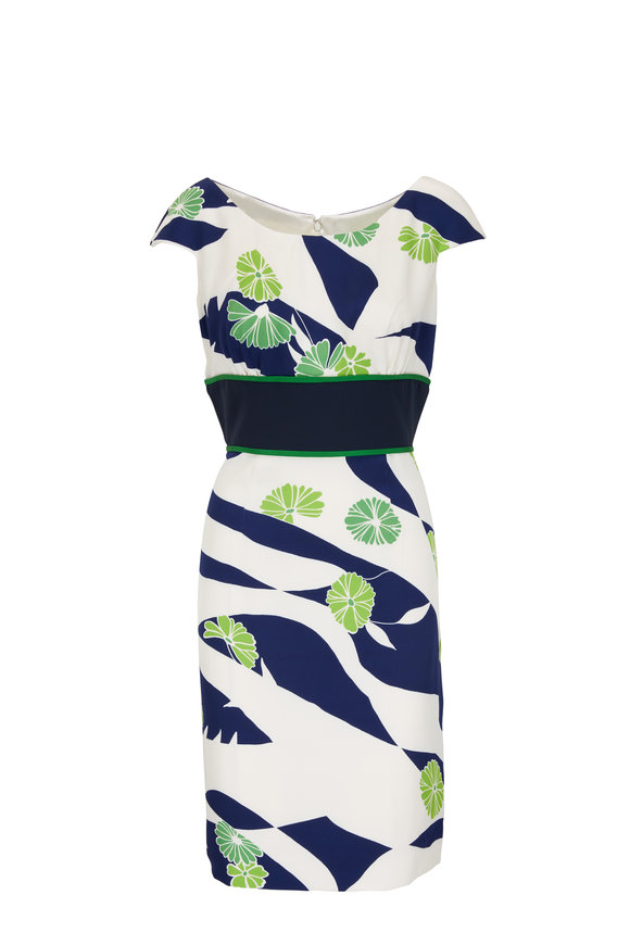 Donald Deal White, Navy & Green Silk Cap Sleeve Dress