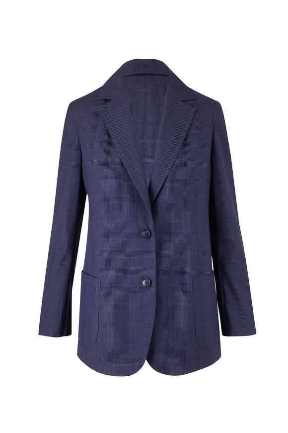 Akris Eda Deep Blue Silk Seersucker Jacket