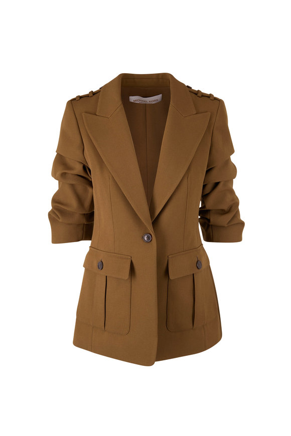 Michael Kors Collection Cate Olive Green Crushed Sleeve Jacket