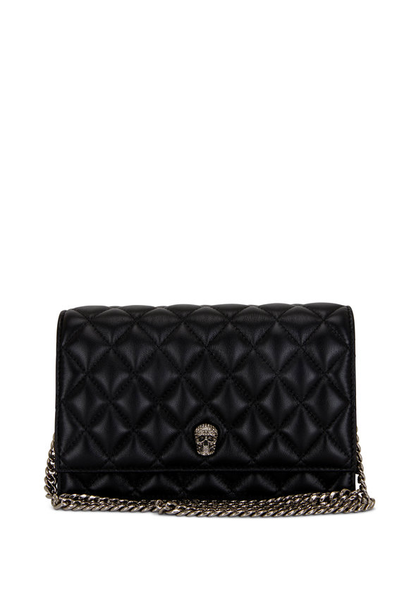 Alexander McQueen Small Skull Black Quilted Leather Chain Bag