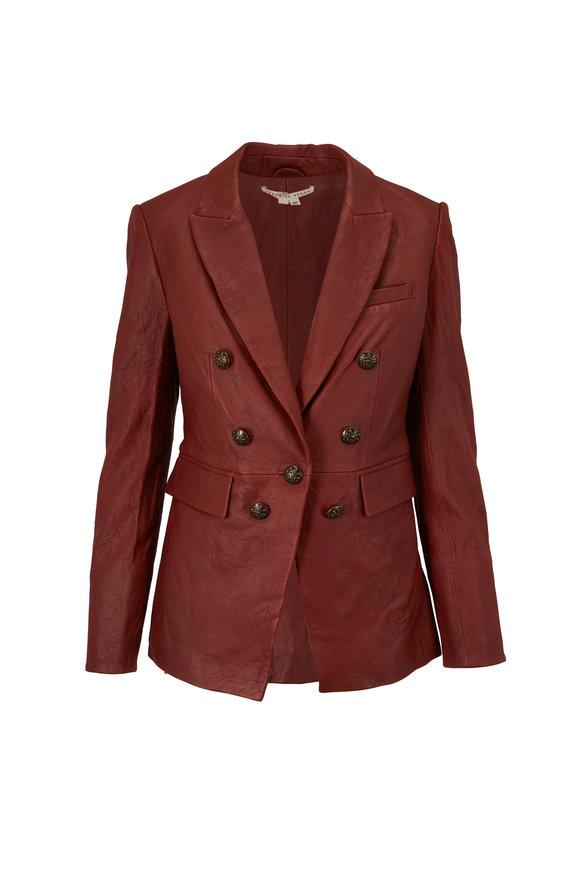 Veronica Beard Gaya Rust Leather Dickey Jacket