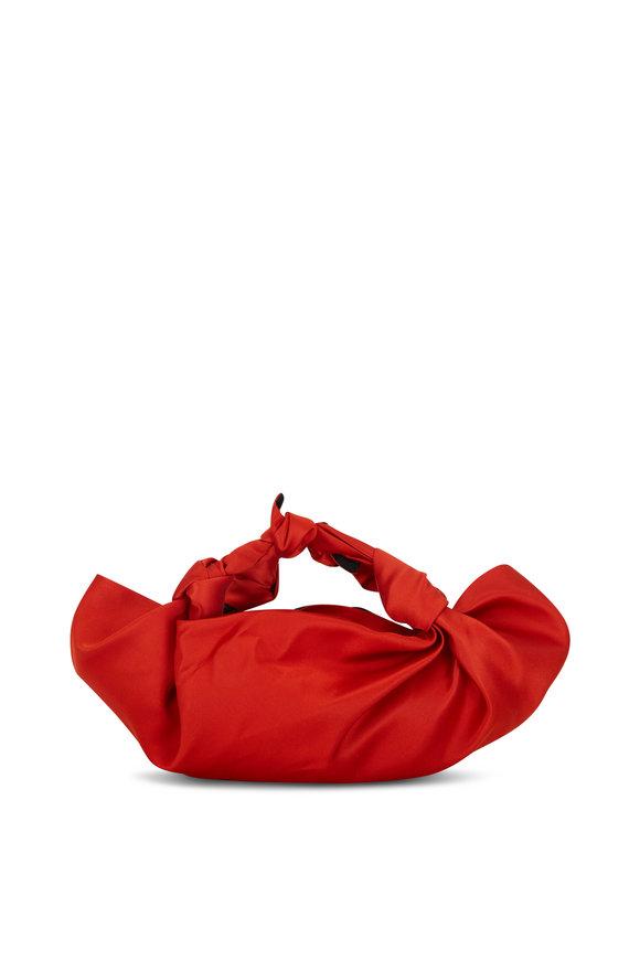 The Row The Ascot Tangerine Satin Knot Evening Bag