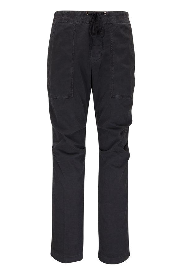 James Perse Slub Black Cotton Utility Pant