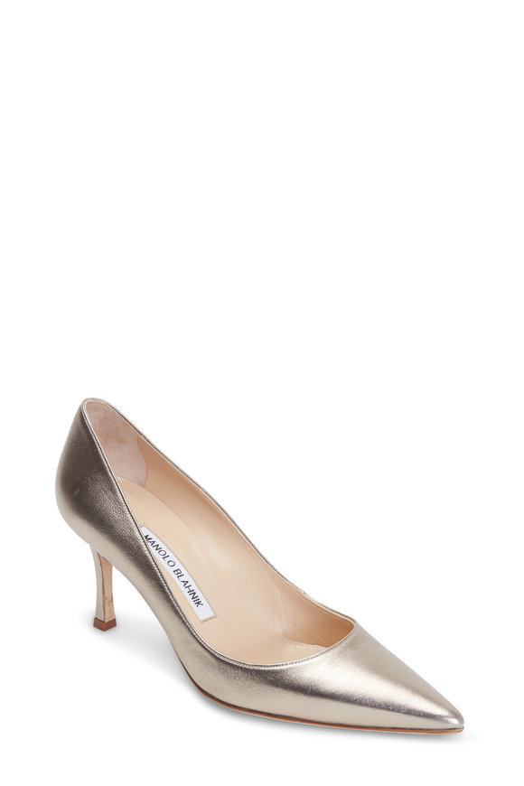 Manolo Blahnik Lisa Gunmetal Leather Pump, 70mm