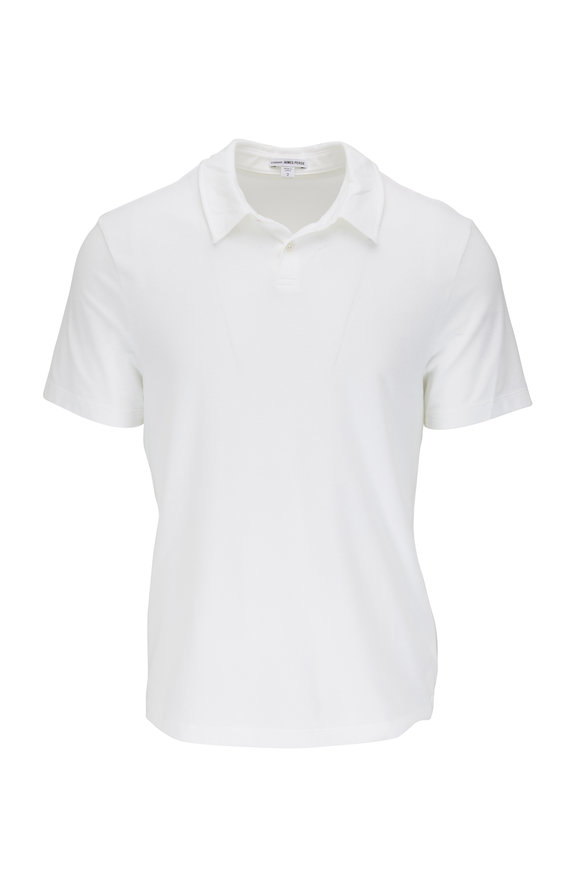 James Perse White Brushed Jersey Short Sleeve Polo