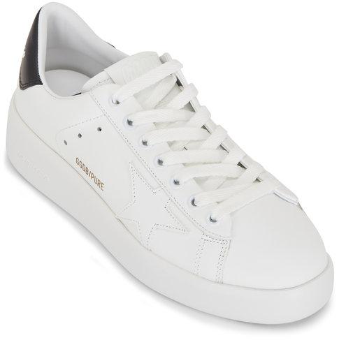 Golden Goose Pure Star White Leather & Black Heel Sneaker