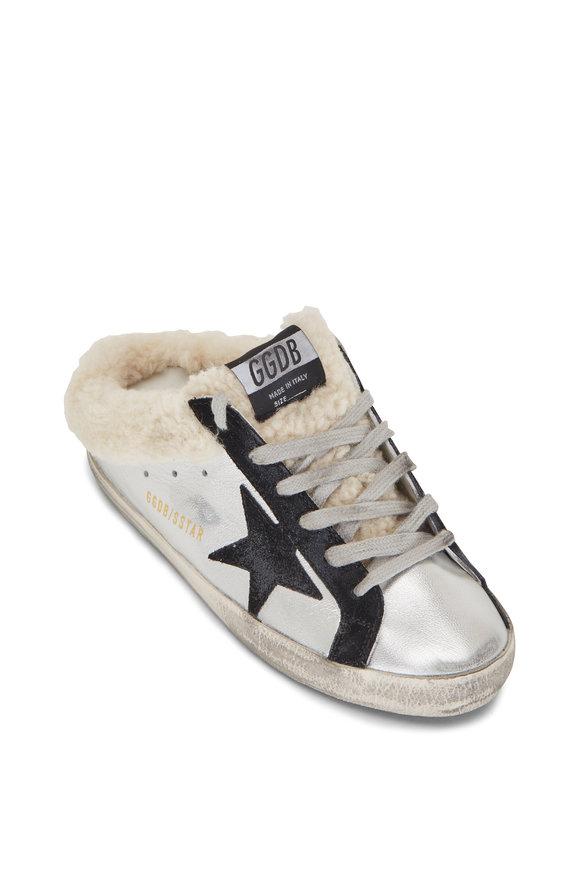 Golden Goose Super-Star Silver Shearling Lined Slip On Sneaker