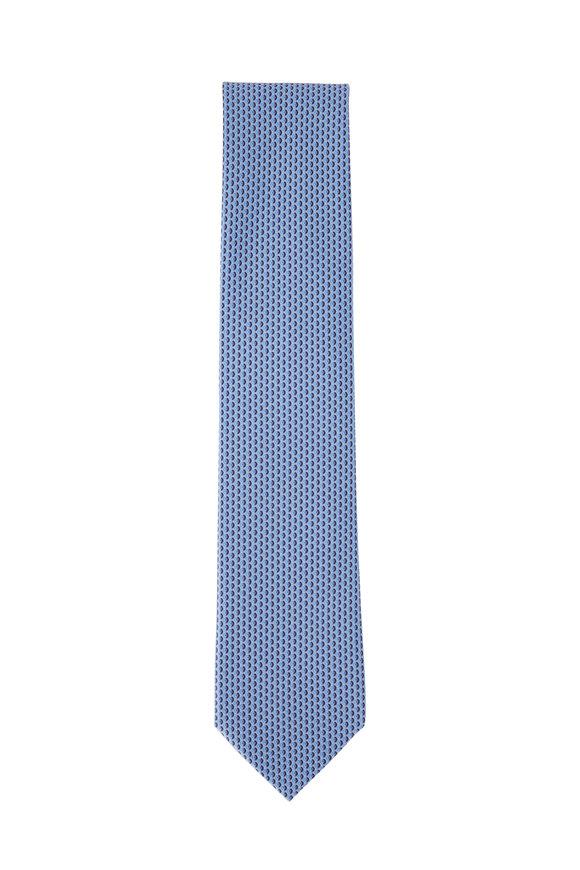 Ermenegildo Zegna Light Blue Small Geometric Silk Necktie