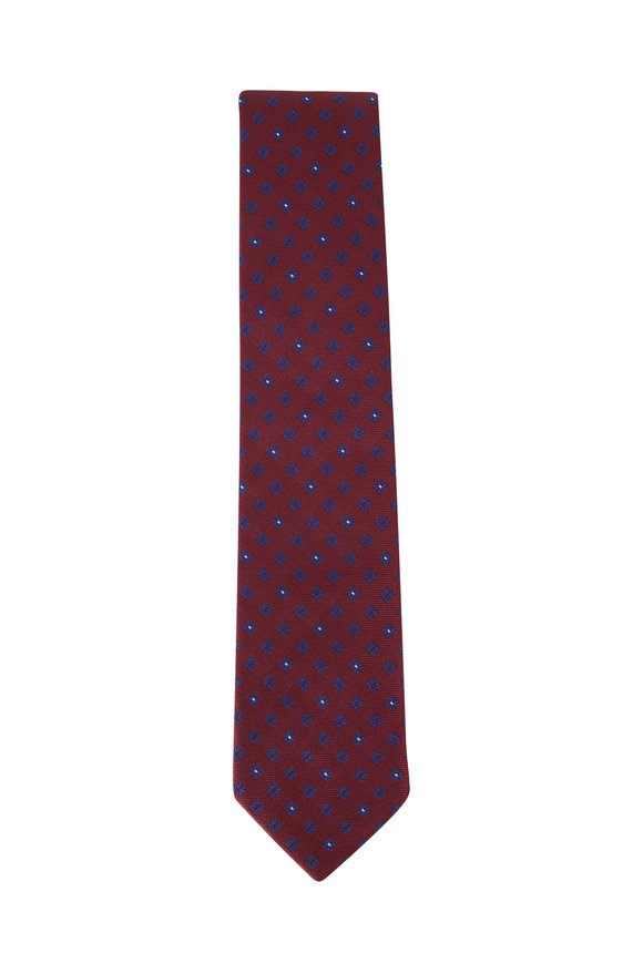 Ermenegildo Zegna Burgundy Geometric Print Silk Tie