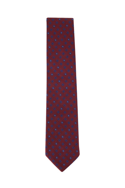 Ermenegildo Zegna - Burgundy Geometric Print Silk Tie