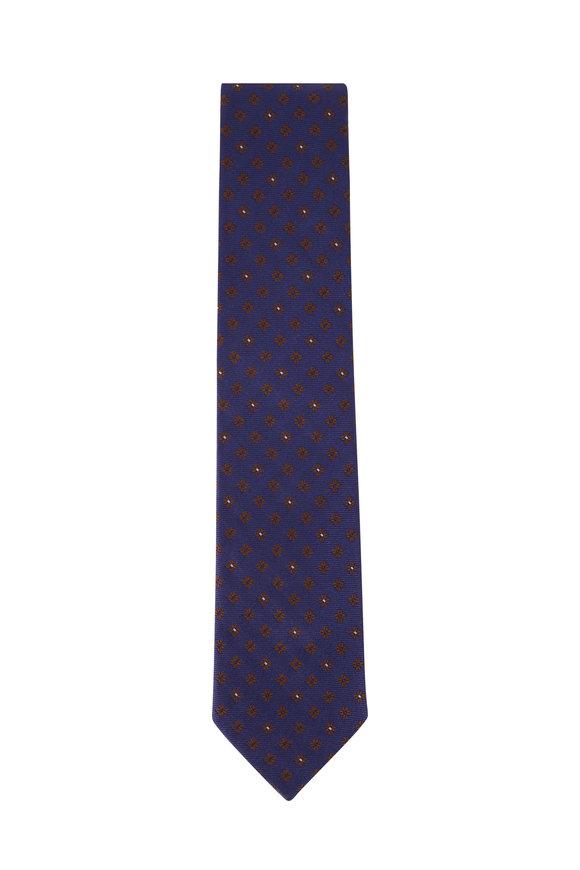 Ermenegildo Zegna Navy Geometric Print Silk Necktie
