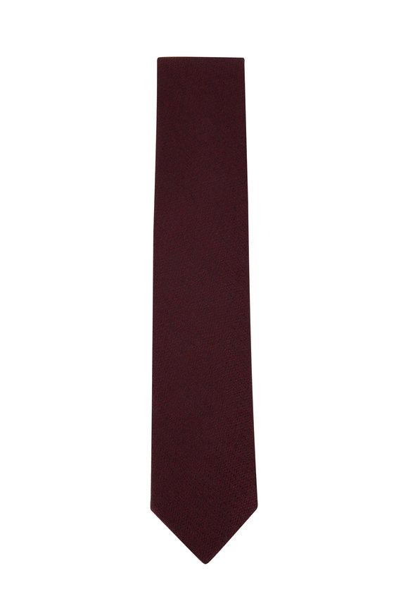 Ermenegildo Zegna Red Melange Silk Necktie