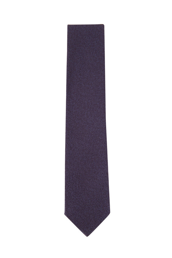 Ermenegildo Zegna Navy Melange Silk Necktie