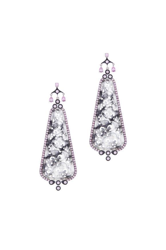 Cairo Carved Jade, Black Enamel & Pink Sapphire Earrings