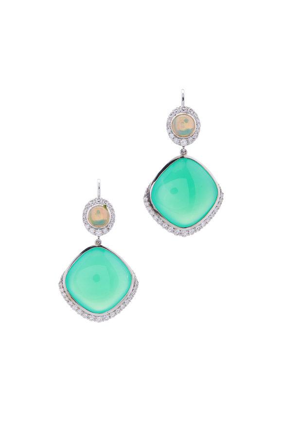 Cairo Chrysoprase, Opal & Diamond Earrings