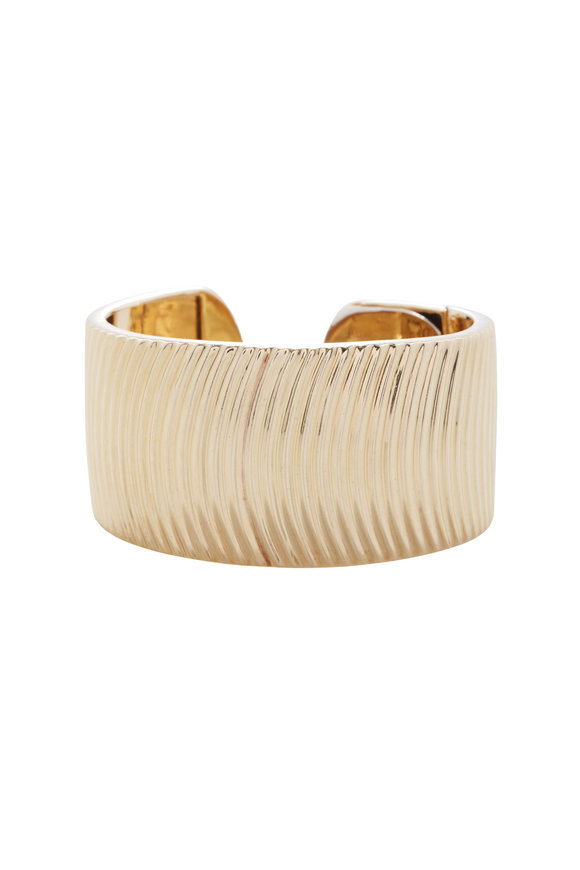 Cairo Yellow Gold Wide Hinged Cuff