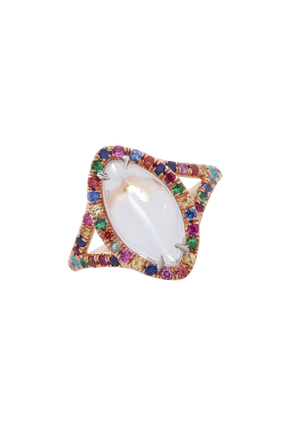 Cairo Rose Gold Moonstone & Mixed Sapphire Ring