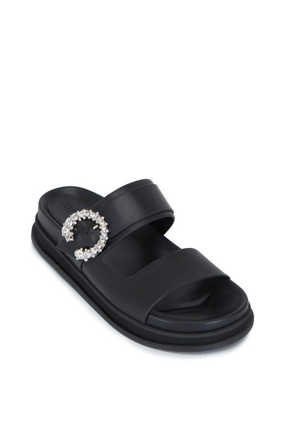 Jimmy Choo Marga Black Leather Crystal Buckle Slide