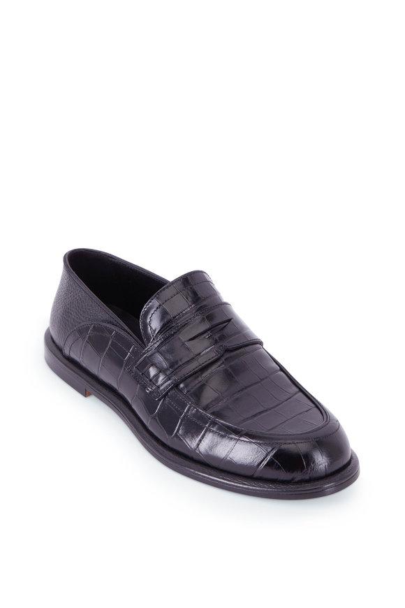 Loewe Black Moc Croc Leather Leather