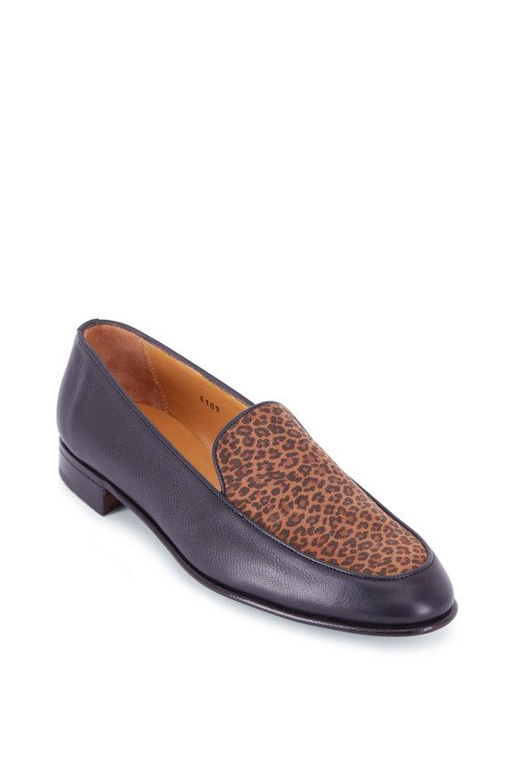 Gravati Black & Leopard Suede Flat Loafer