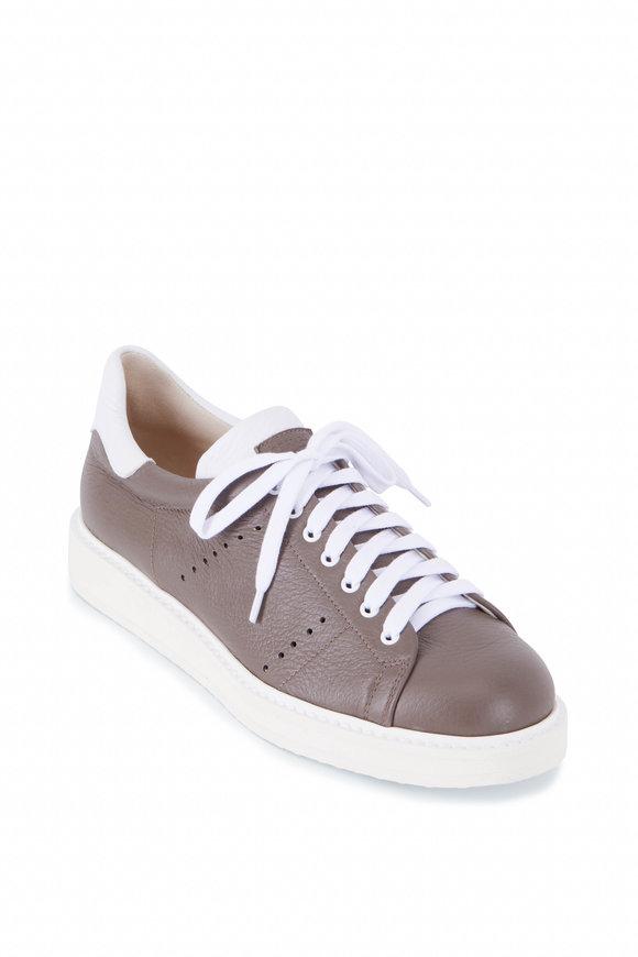 Gravati Olive Deerskin Leather Low Top Sneaker