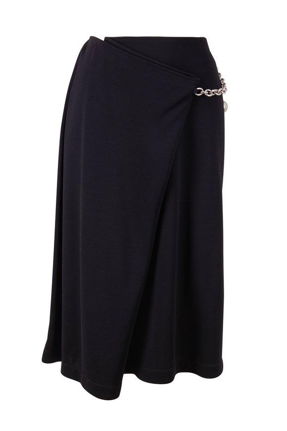 Bottega Veneta Black Crepe Jersey Wrap Skirt