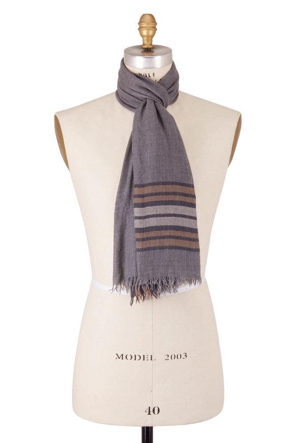 Brunello Cucinelli Gray Cashmere & Silk Stripe Scarf