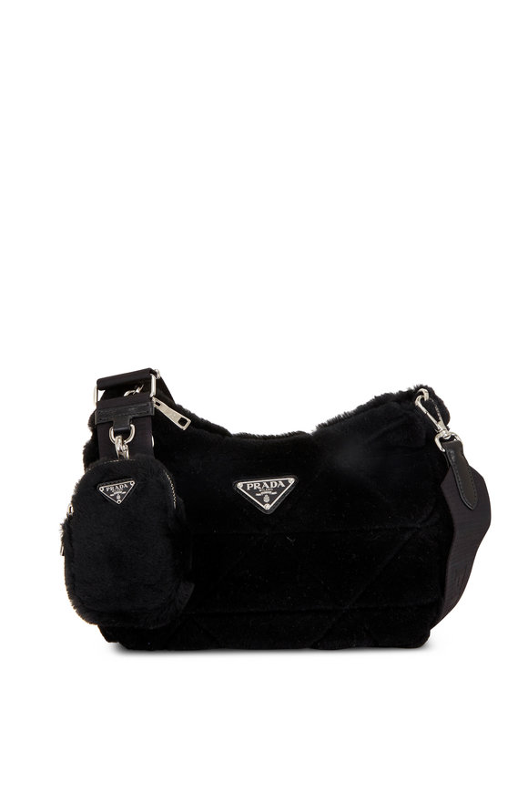 Prada Black Patchwork Shearling Pouch Shoulder Bag