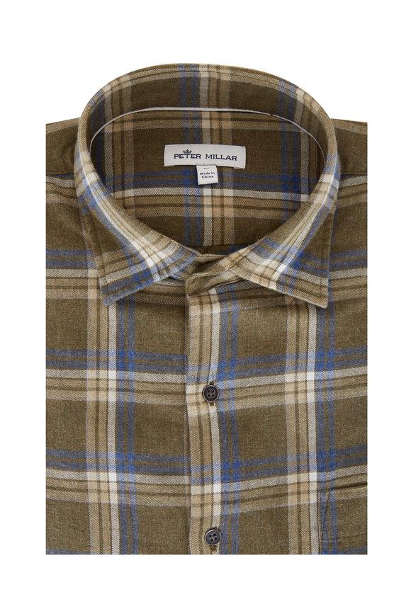 Peter Millar Olive Plaid Flannel Sport Shirt