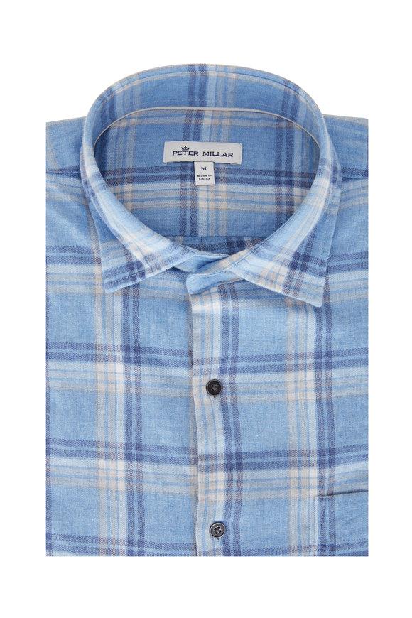 Peter Millar Light Blue Plaid Flannel Sport Shirt