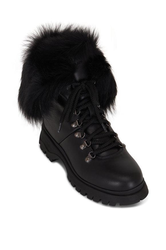 Prada Black Leather & Fur Lace Up Combat Boot