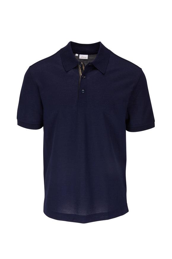 Brioni Navy Blue Piqué Polo