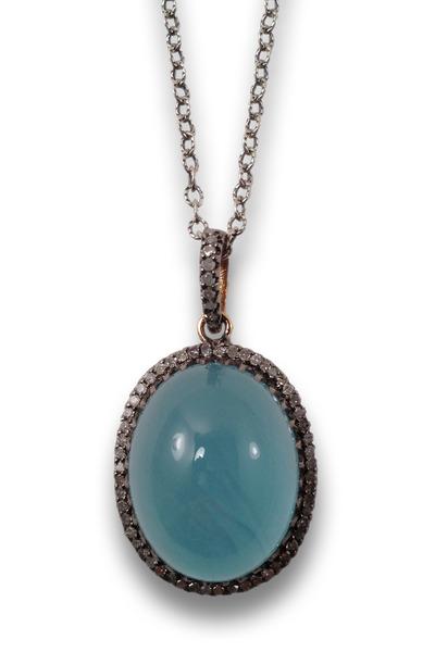 Loriann - Gold & Silver Milky Aqua Pendant Necklace