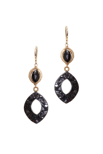 Dana Kellin - Yellow Gold Black Garnet Diamond Earrings