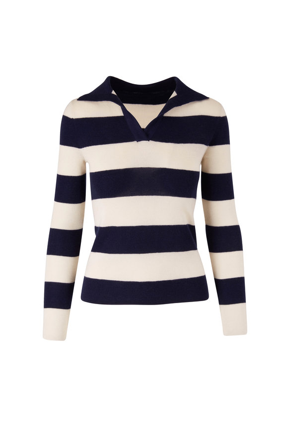 Nili Lotan Lucille Navy & Ivory Stripe Polo