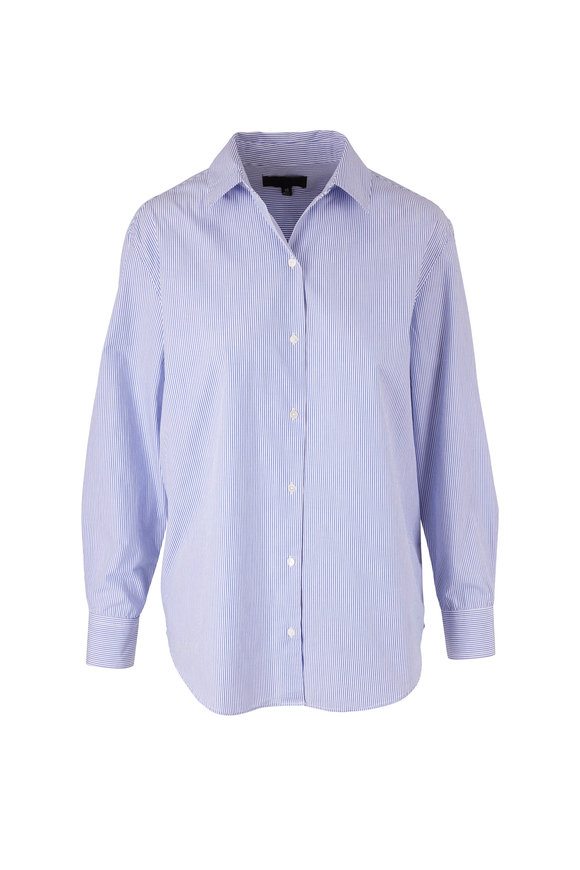 Nili Lotan Casey Blue Stripe Button Down