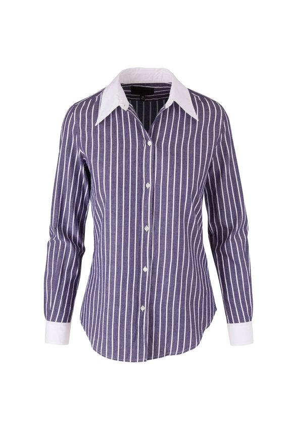 Nili Lotan Hailey Navy & White Stripe Button Down