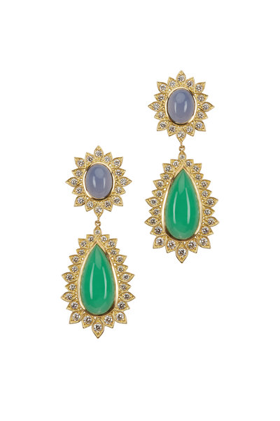 Jamie Wolf - Gold Chrysoprase & Chalcedony Diamond Earrings