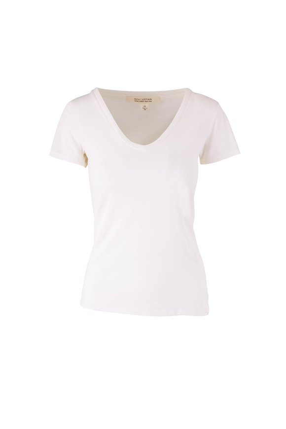 Nili Lotan Carol Ivory V-Neck T-Shirt