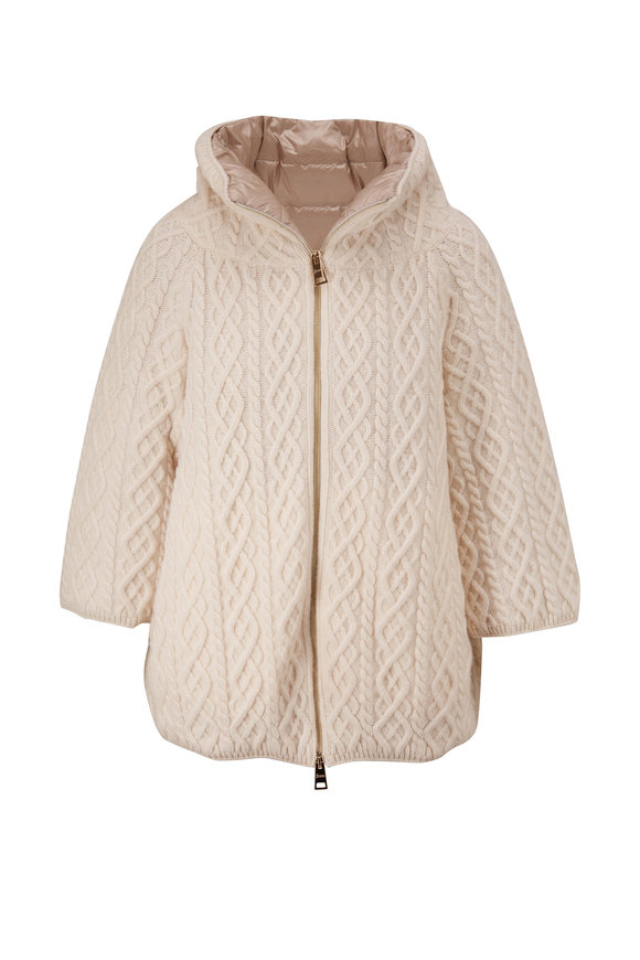 Herno White Cable Knit Wool Funnel Neck Coat