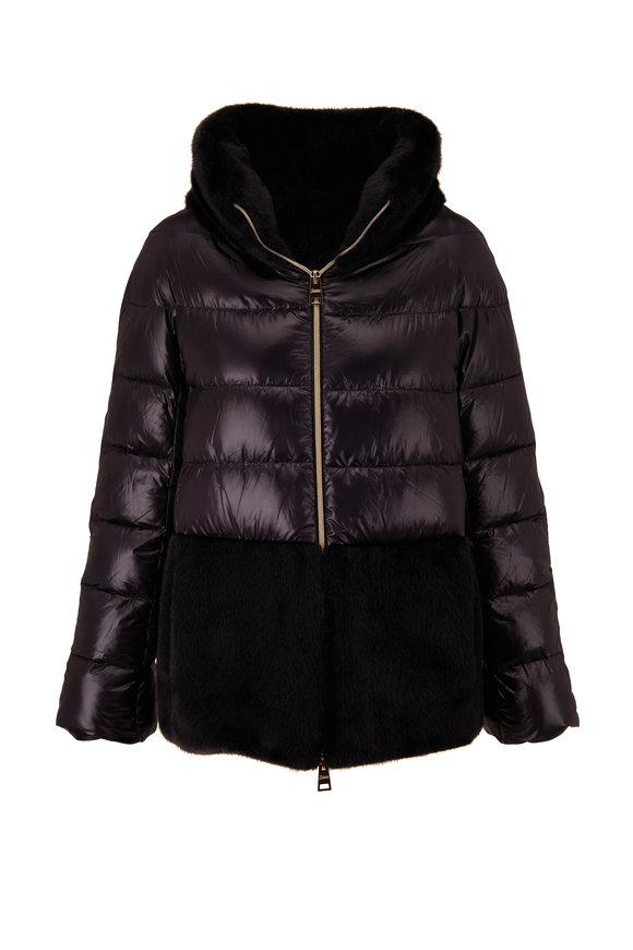 Herno Black Ultralight & Faux Fur Down Jacket