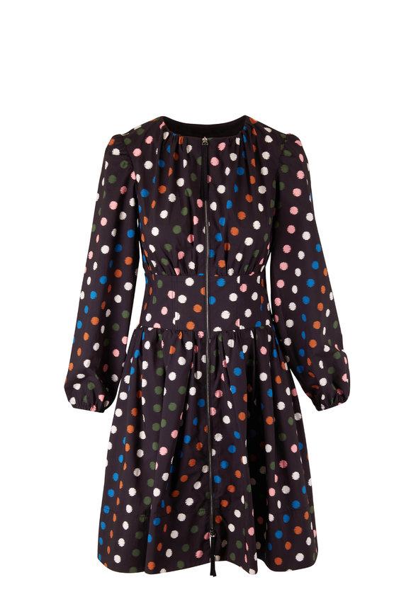 Carolina Herrera Black Multi Puff Sleeve Corset Dress